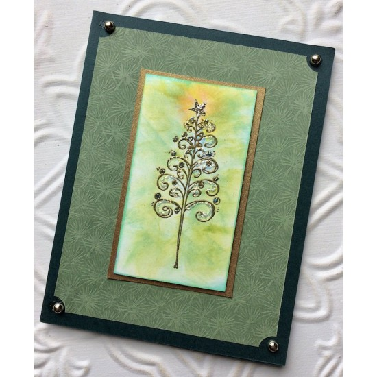 Curly Christmas Tree Rubber Stamp