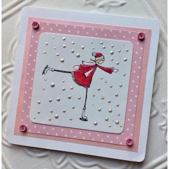 Ice skater Rubber Stamp