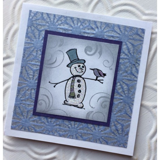 Snowman with Bird Rubber Stamp
