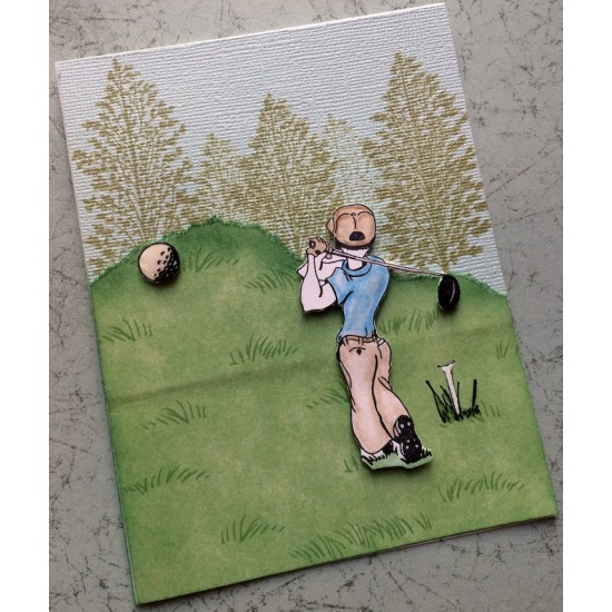 Golfer Rubber Stamp