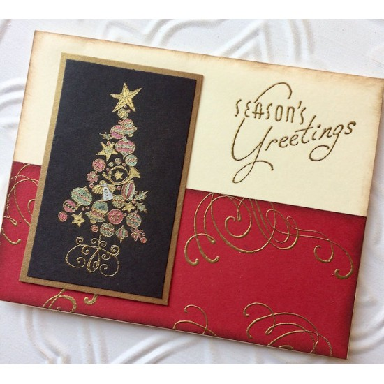 Retro Season's Greetings Rubber Stamp