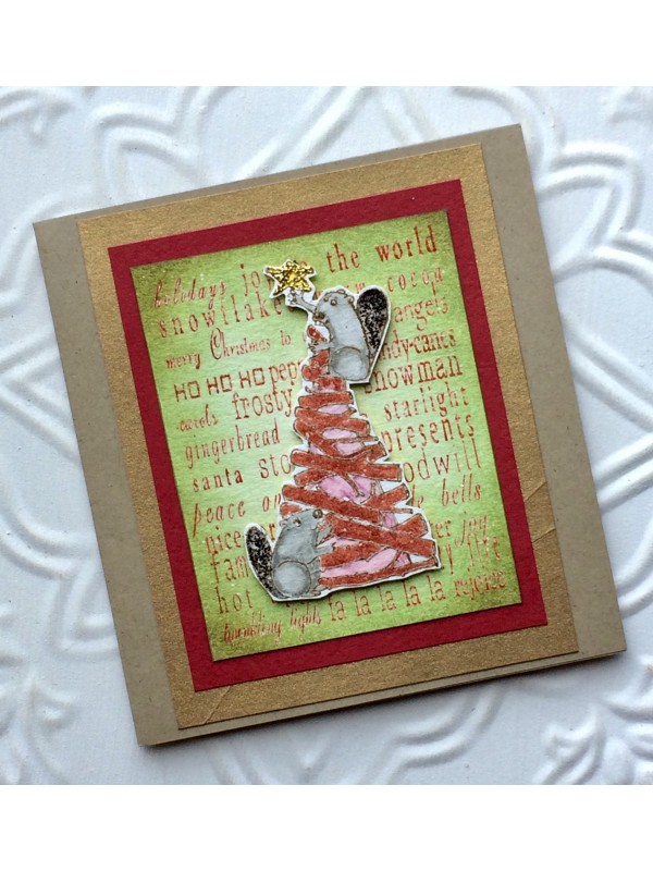Critter Christmas Tree and Beavers Rubber Stamp