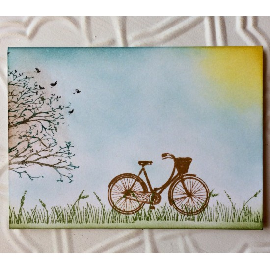Vintage Girl's Bicycle Rubber Stamp