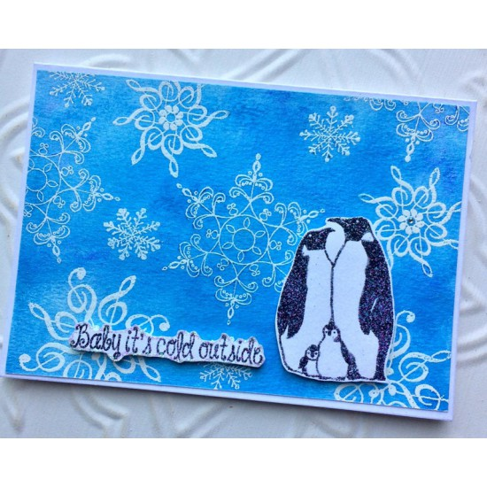Penguin Family Rubber Stamp