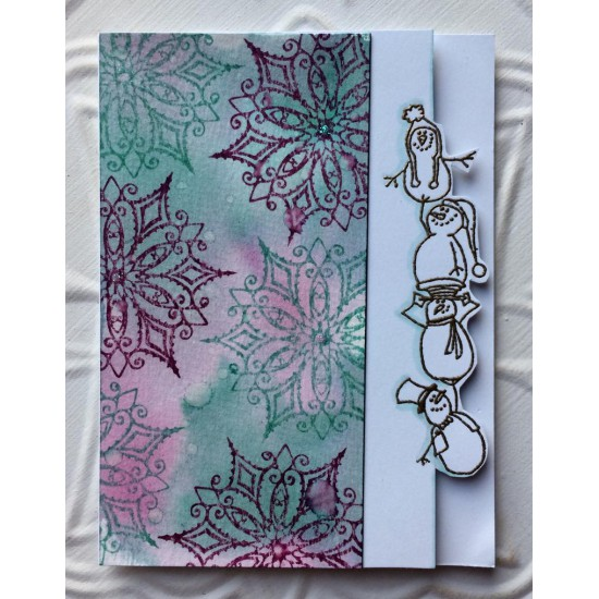 Snowman Totem Pole Rubber Stamp
