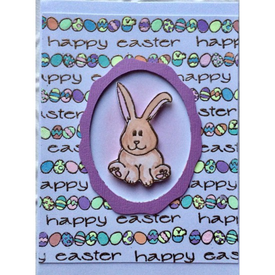 Happy Easter Eggs Rubber Stamp