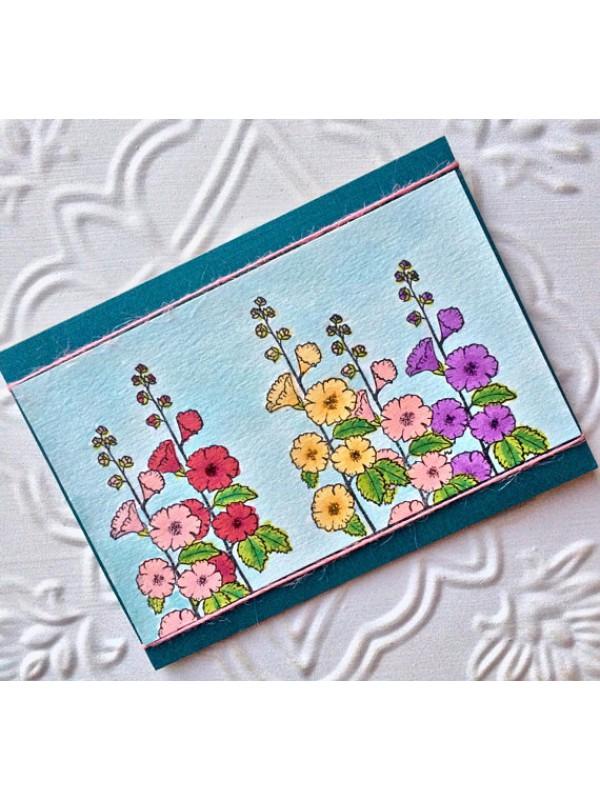 Hollyhock Flower Rubber Stamp