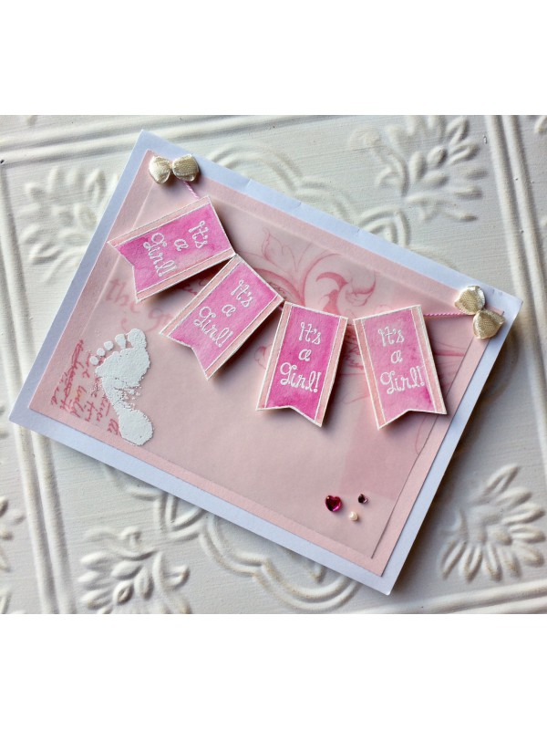 It's A Girl! Banner Rubber Stamp