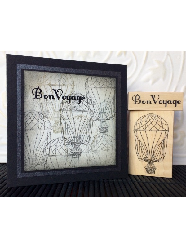 Vintage Hot Air Balloon Rubber Stamp