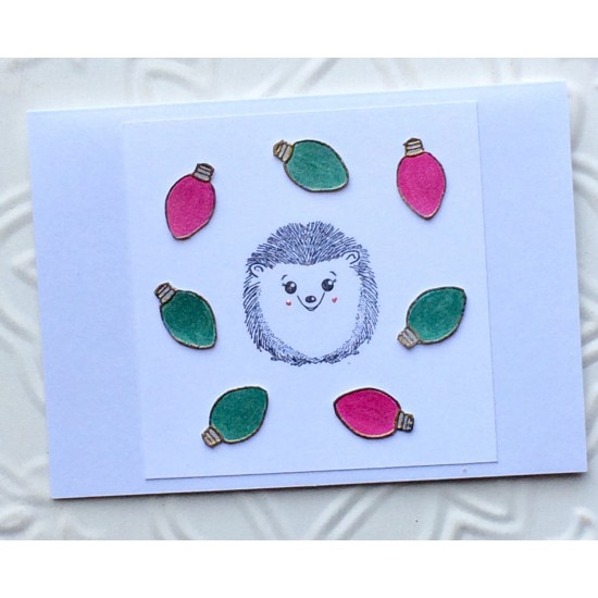 Single Christmas Light Rubber Stamp